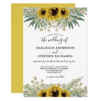 botanical rustic sunflower watercolor wedding invitation