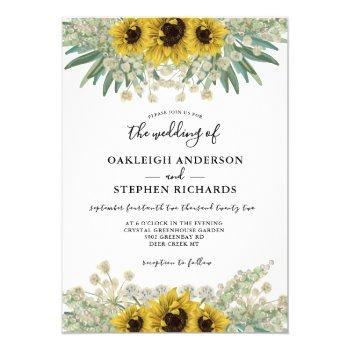 botanical rustic sunflower watercolor wedding invitation
