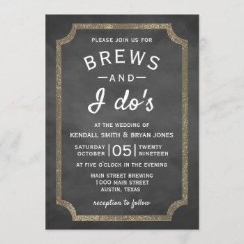 brews and i do's brewery chalkboard wedding invitation