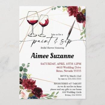 bridal shower - paint & sip invitation