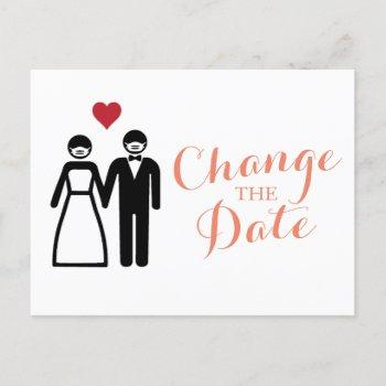 bride and groom change the date announcement postcard