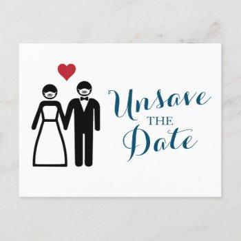 bride and groom (couple) unsave the date announcement postcard