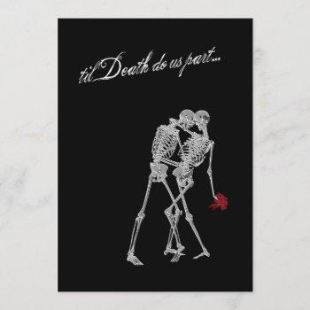 bride and groom skeletons goth wedding invitation