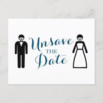 bride and groom unsave the date announcement postcard