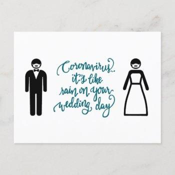 bride and groom with mask | like rain announcement postcard