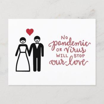 bride and groom with mask | our love announcement postcard