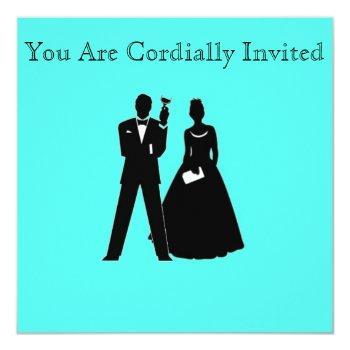 bride & groom silhouettes on blue invitation