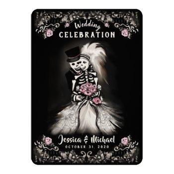 bride groom wedding skeletons cemetery love invite