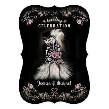 bride groom wedding skeletons cemetery love invite