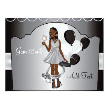 bride wedding silver black white bachelorette invitation