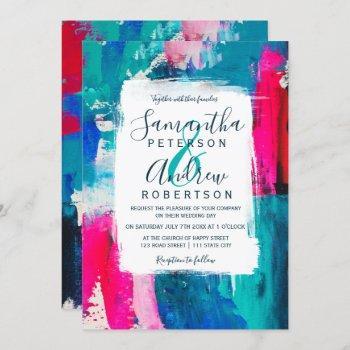 bright abstract navy blue neon pinkacrylic wedding invitation