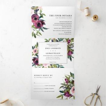bright blush burgundy green  floral bunch wedding tri-fold invitation