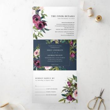 bright blush burgundy navy floral bunch wedding tri-fold invitation