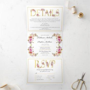 brilliant blooms watercolor wedding tri-fold invitation
