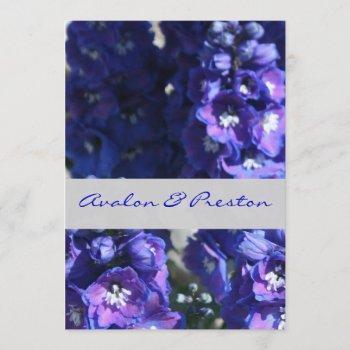 brilliant blue & purple floral wedding invitation