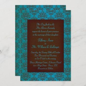 brown and turquoise damask wedding invitation