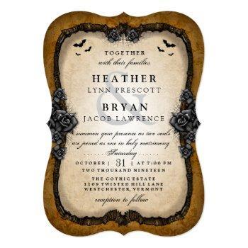 brown gothic bats halloween wedding reception back invitation
