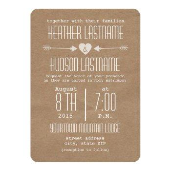 brown paper inspired arrows + heart rustic white invitation