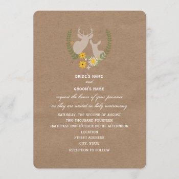 brown paper inspired wildflower deer wedding invitation