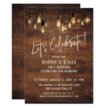 brown wood wall with edison lights let's celebrate invitation