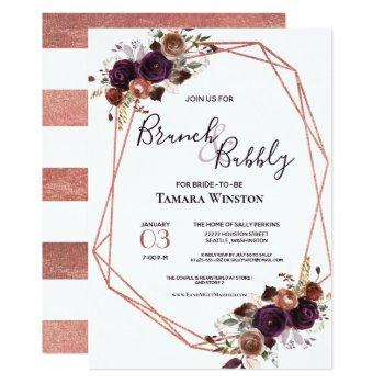 brunch & bubbly rose gold purple geometric shower invitation