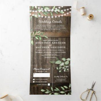 budget all in one rustic greenery wedding tri-fold invitation