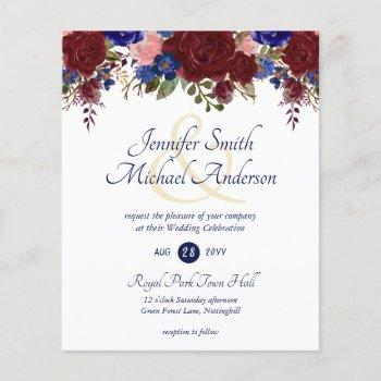 budget burgundy blue pink wedding invitations