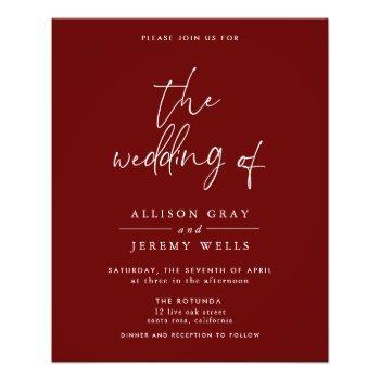 budget burgundy wedding invitation  flyer