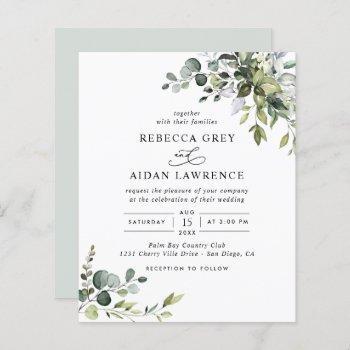 budget dusty blue greenery wedding invitation