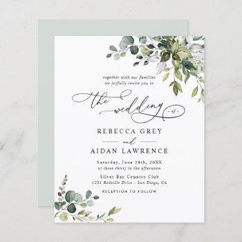 budget elegant rustic greenery wedding invitation