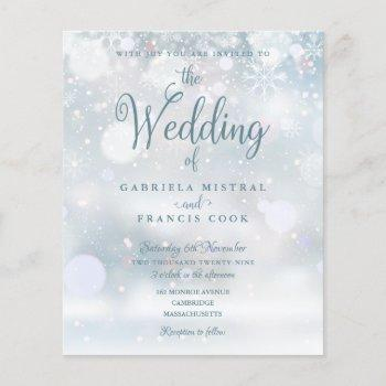 budget elegant winter wedding invitation