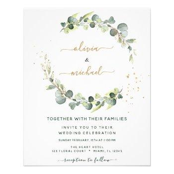 budget eucalyptus greenery wedding invitations flyer