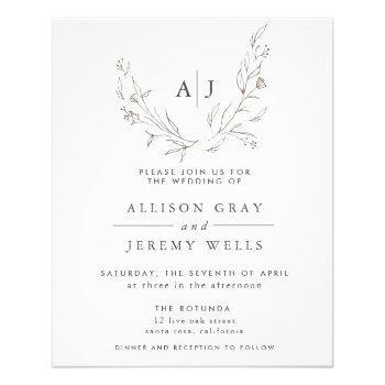 budget monogram floral wedding invitation flyer