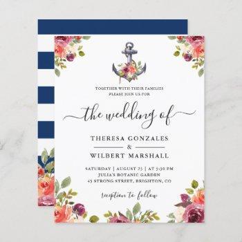budget nautical anchor floral wedding invitations