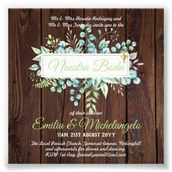 budget nuestra boda spanish greenery wedding photo print