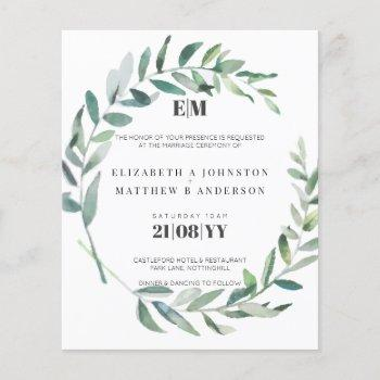 budget olive leaves typography wedding invites