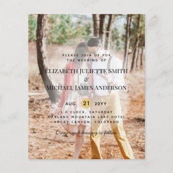 budget photo overlay modern wedding invitations