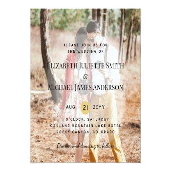Small Budget Photo Overlay Wedding Invite Modern Front View