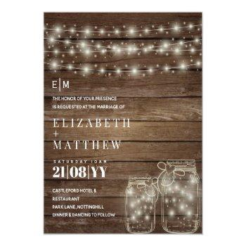 Small Budget Rustic Lights Mason Jars Wedding Invites Front View