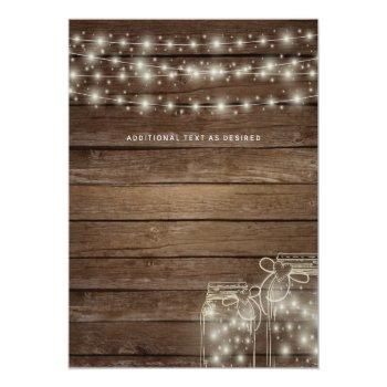 Small Budget Rustic Lights Mason Jars Wedding Invites Back View
