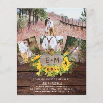 budget rustic photo sunflowers wedding invitations