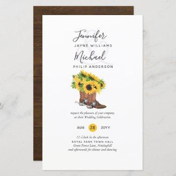 budget rustic sunflower cowboy boots wedding inv