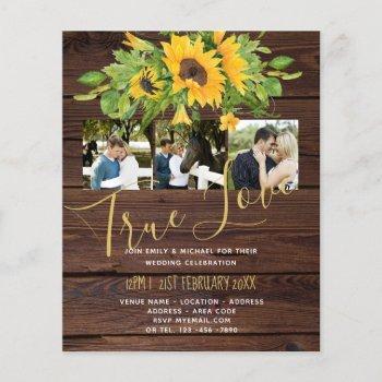 budget rustic sunflowers photo wedding invitations