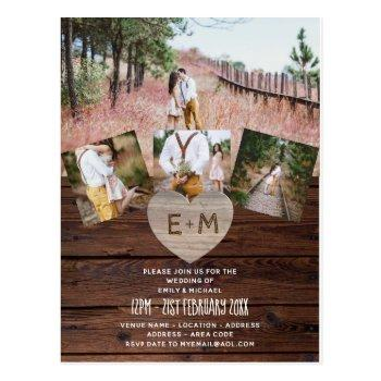 budget rustic wedding invites photo collage modern