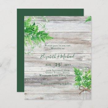 budget shabby greenery chic wedding invite