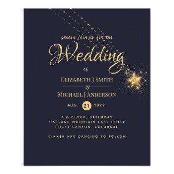 budget starry night blue wedding invitation flyers