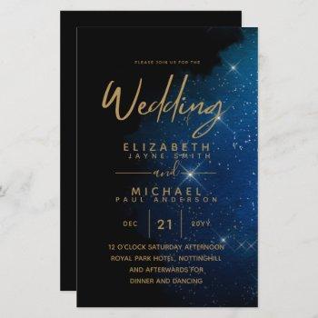 budget starry night navy gold a9 wedding invites