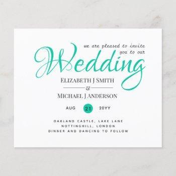 budget typograhy wedding invites - modern teal