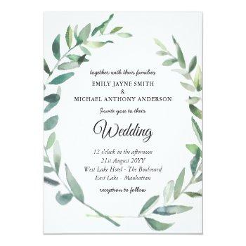 Small Budget Wedding Invitation Modern Olive Leaves Front View