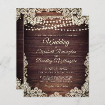 budget wedding rustic wood lights lace invitation